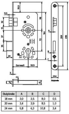 Rohrrahmenschlo/ß 45mm Dorn 24mm Stulp PZ92 Nuss 8 /& 10mm Edelstahl mit H/ülse 8//10