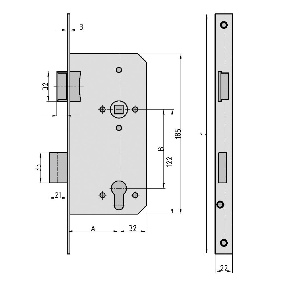 einsteckschloss haustürschloss es 979 für profilzylinder din (65mm x